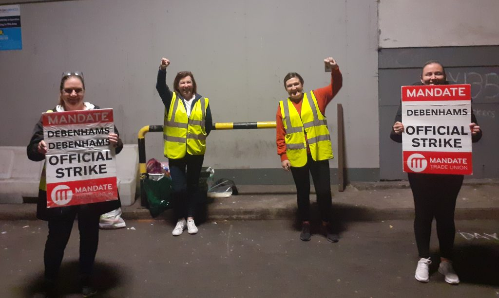 Workers at the Debenhams Picket